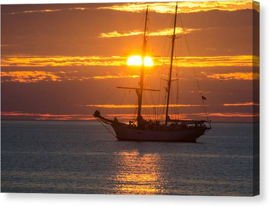 Schooner Sunset Canvas Print