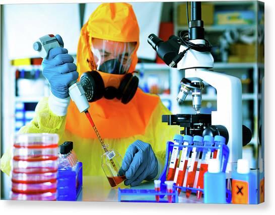 Protective Clothing Canvas Print - Scientist In Hazmat Suit by Wladimir Bulgar