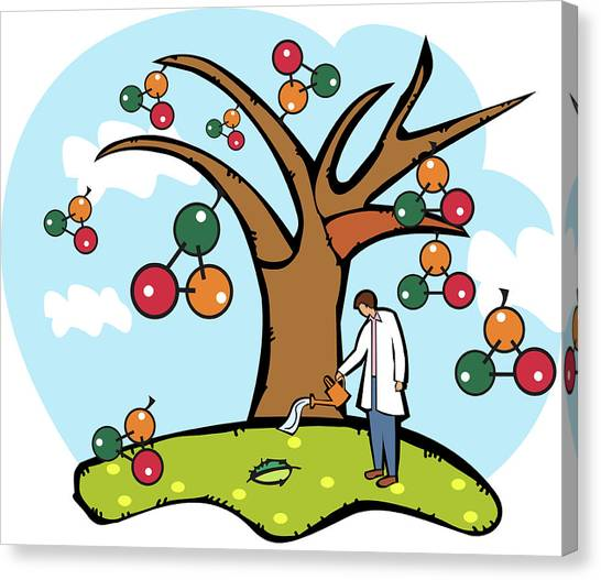 Scientist Watering An Atomic Structure Tree Canvas Print by Fanatic Studio / Science Photo Library