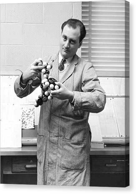 Purdue University Canvas Print - Scientist With Molecule Model by Underwood Archives
