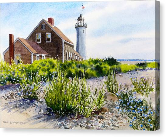 Scituate Light By Day Canvas Print