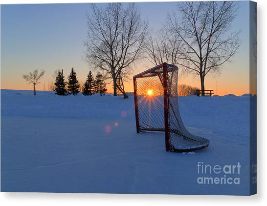 Hockey Players Canvas Print - Scoring The Sunset by Darcy Michaelchuk