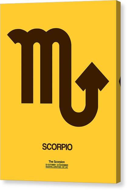 Signs Canvas Print - Scorpio Zodiac Sign Brown by Naxart Studio