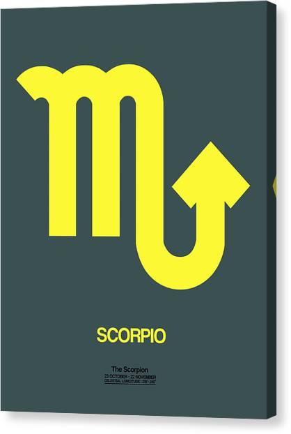 Signs Canvas Print - Scorpio Zodiac Sign Yellow by Naxart Studio