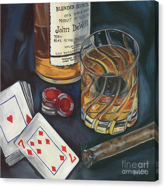 Liquor Canvas Print - Scotch And Cigars 4 by Debbie DeWitt