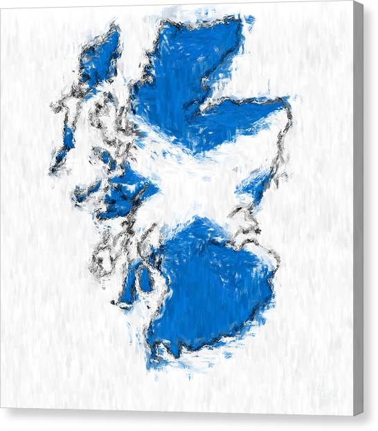 Scotland Painted Flag Map Canvas Print