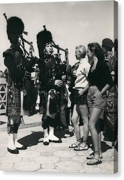 Scots Guards Entertained In Le Tourquet - And Do A Bit Of Canvas Print by Retro Images Archive