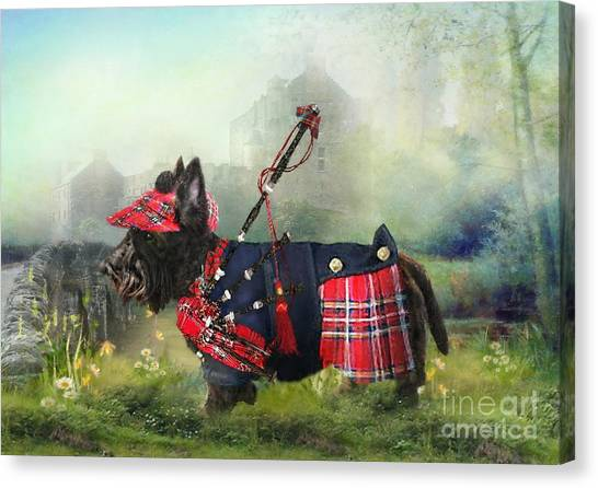 Scottie Of The Glen Canvas Print