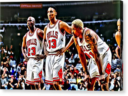 Slam Dunk Canvas Print - Scottie Pippen With Michael Jordan And Dennis Rodman by Florian Rodarte