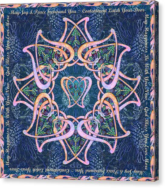 Scottish Blessing Celtic Hearts Duvet Canvas Print