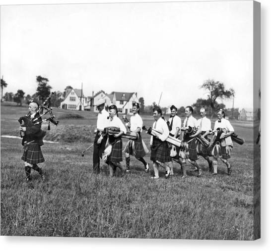 Bagpipes Canvas Print - Scottish Golfers With Bagpipe by Underwood Archives