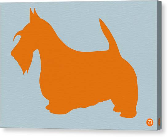Dogs Canvas Print - Scottish Terrier Orange by Naxart Studio