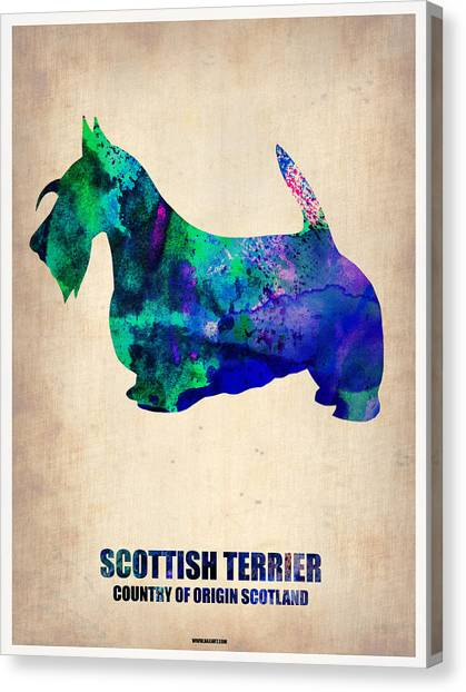 Terrier Canvas Print - Scottish Terrier Poster by Naxart Studio