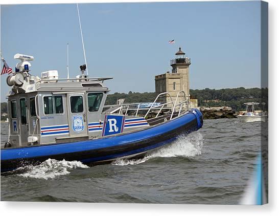 Scpd Boat @ Huntington Lighthouse Canvas Print