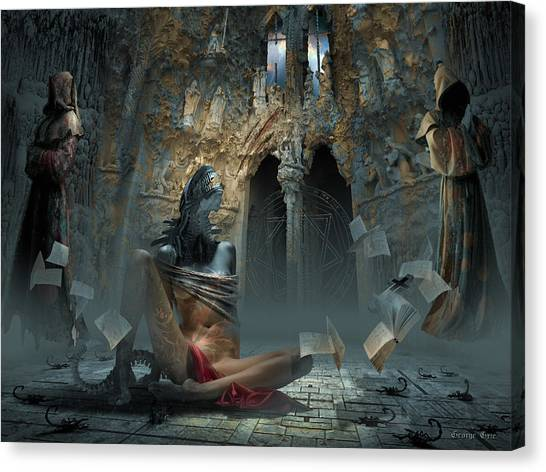 Fantasy Cave Canvas Print - Scream by George Grie