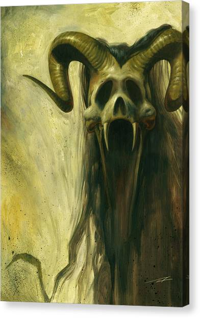World Of Warcraft Canvas Print - Screaming Skull by Alan Lathwell
