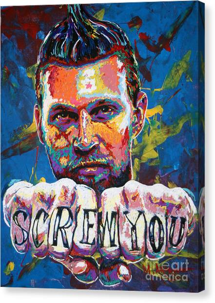 New Orleans Hornets Canvas Print - Screw You by Maria Arango