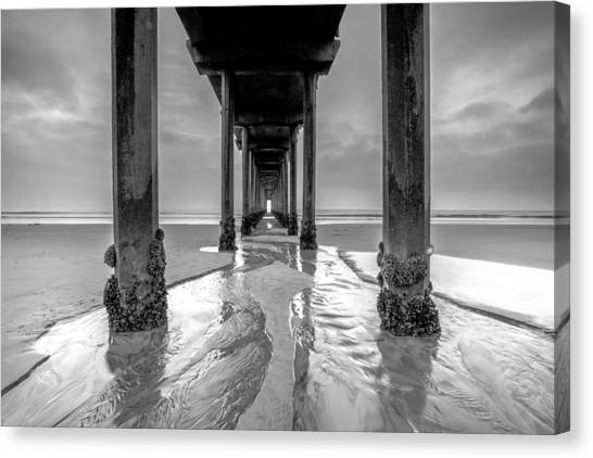 Scripps Pier Black And White Canvas Print