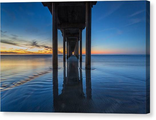 Big Sky Canvas Print - Scripps Pier Blue Hour by Peter Tellone