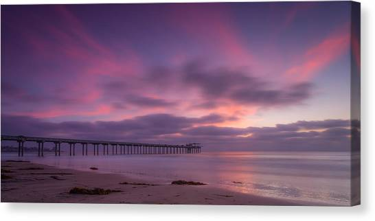 Big Sky Canvas Print - Scripps Pier Colors by Peter Tellone