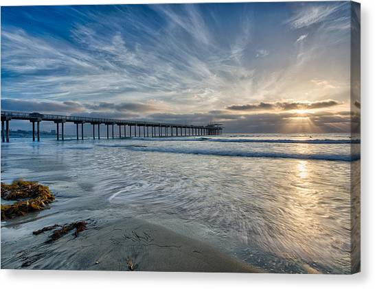 Big Sky Canvas Print - Scripps Pier Sky And Motion by Peter Tellone