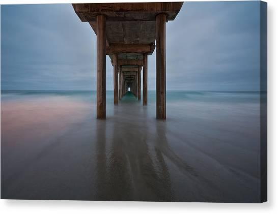 Scripps Pier Canvas Print - Scripps Pier Soft Blue by Peter Tellone