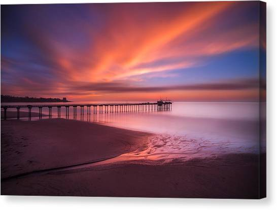 Harbors Canvas Print - Scripps Pier Sunset by Larry Marshall