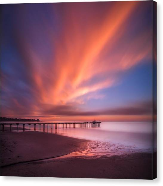 Coastal Landscape Canvas Print - Scripps Pier Sunset - Square by Larry Marshall