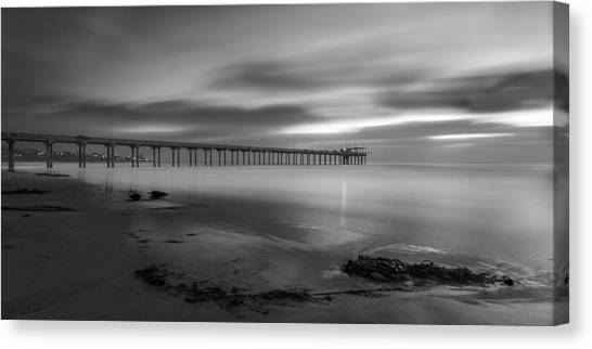 Scripps Pier Canvas Print - Scripps Pier Twilight - Black And White by Peter Tellone