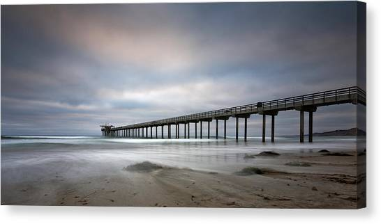 Big Sky Canvas Print - Scripps Pier Wide -lrg Print by Peter Tellone