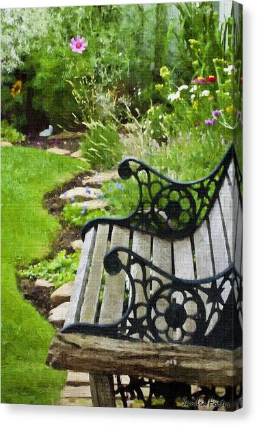 Scroll Bench Garden Scene Digital Artwork Canvas Print