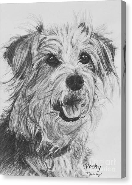 Scruffy Terrier Dog Drawing Canvas Print