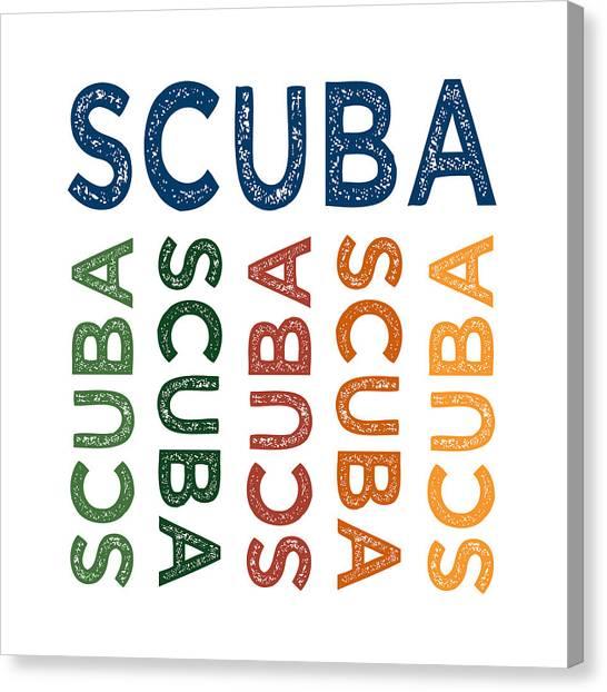 Scuba Diving Canvas Print - Scuba Cute Colorful by Flo Karp