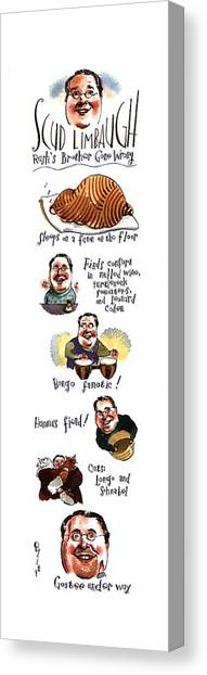 Bongos Canvas Print - Scud Limbaugh  Rush's Brother Gone Wrong by Barry Blitt