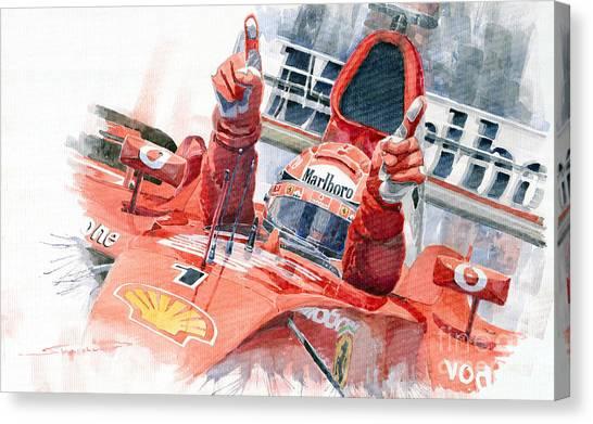 Sports Cars Canvas Print - 2001 Scuderia Ferrari Marlboro F 2001 Ferrari 050 M Schumacher  by Yuriy Shevchuk