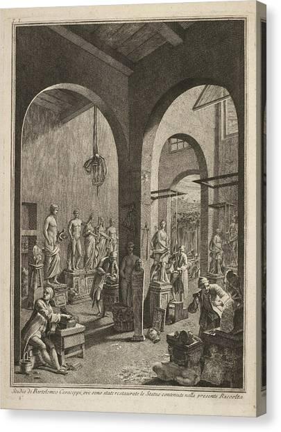 Sculptors Canvas Print - Sculptors At Work by British Library