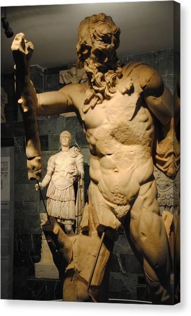Sculpture Through Sculpture -  Zeus And Trajan  Canvas Print by Jacqueline M Lewis