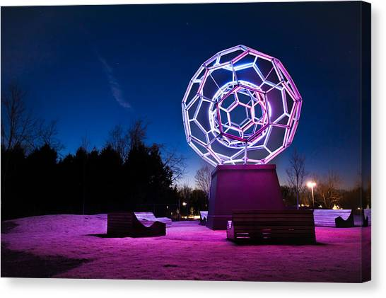 Night Lights Canvas Print - Sculptures Of Light - Crystal Bridges Art Museum by Gregory Ballos