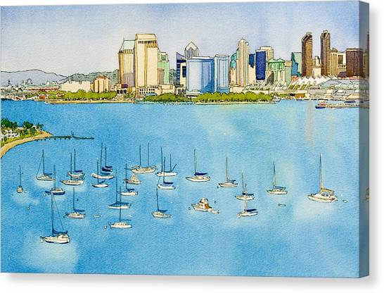 San Diego Canvas Print - Sd Skyline Pen And Ink by Mary Helmreich