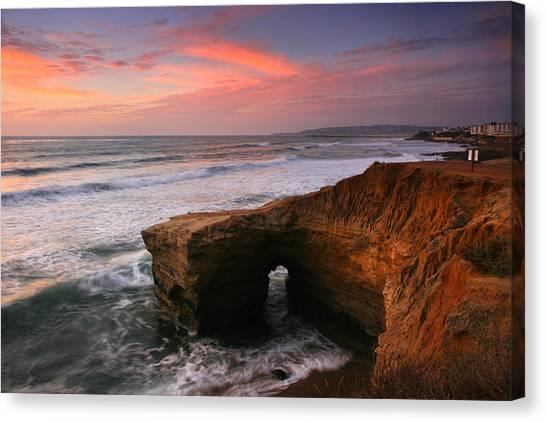 Sea Arch Winter Sunset Canvas Print