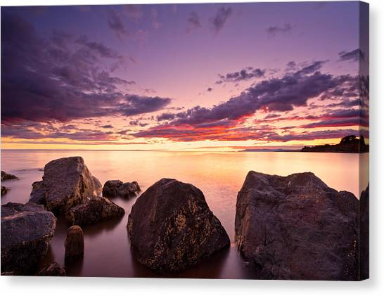 Sea At Sunset The Sky Is In Beautiful Dramatic Color Canvas Print
