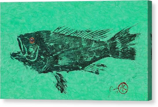 Sea Bass On Aegean Green Thai Unryu Paper Canvas Print