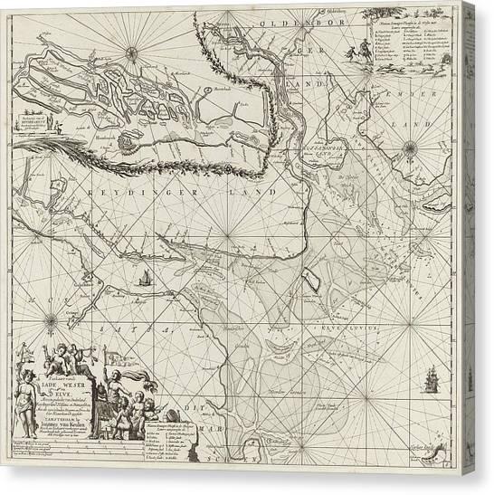 Sea Chart Of Part Of The Elbe, The Weser And Jadebusen Canvas Print by Jan Luyken And Johannes Van Keulen I