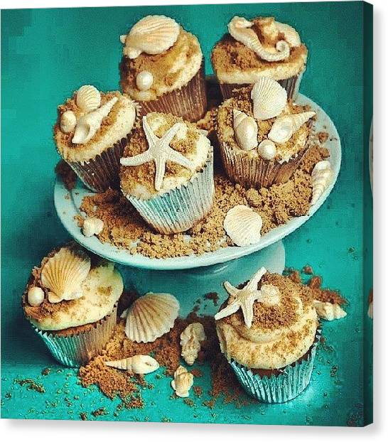 Seashells Canvas Print - Sea Cupcakes #seashells #rp #cupcakes by Brandon Fisher