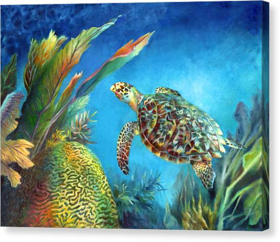 Sea Escape Iv - Hawksbill Turtle Flying Free Canvas Print