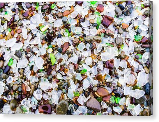 Canvas Print featuring the photograph Sea Glass Treasures At Glass Beach by Priya Ghose