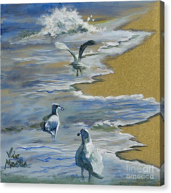 Sea Gulls With Gold Leaf By Vic Mastis Canvas Print