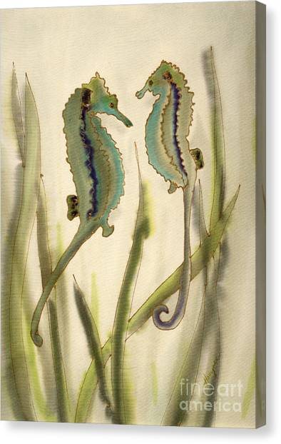 Sea Horses Canvas Print by Addie Hocynec