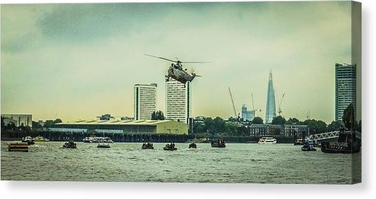 Royal Marines Canvas Print - Sea King Helicopter by Dawn OConnor