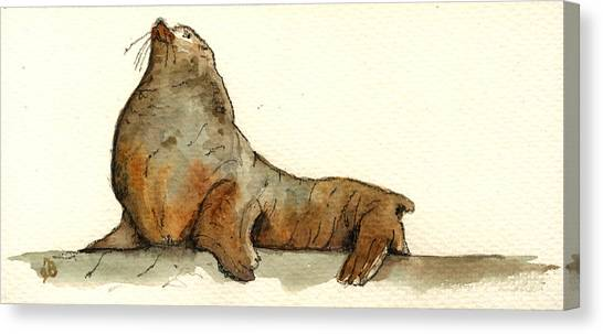 Ivory Canvas Print - Sea Lion by Juan  Bosco